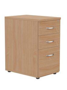 Beech Desk High 3 Drawer Pedestal