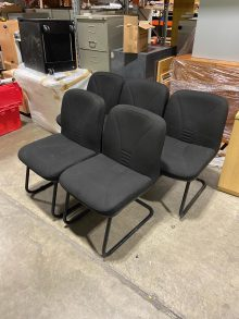 Used Black Padded Cantilever Office Chairs x 5