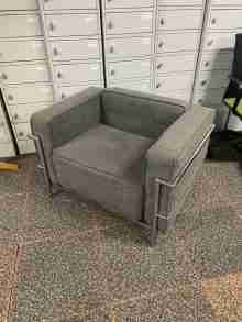 Used Grey Fabric Corbusier Style Armchair